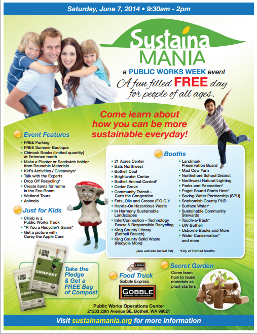 Sustaina Mania 2014 Bothell Family Event Page 1 of the flyer