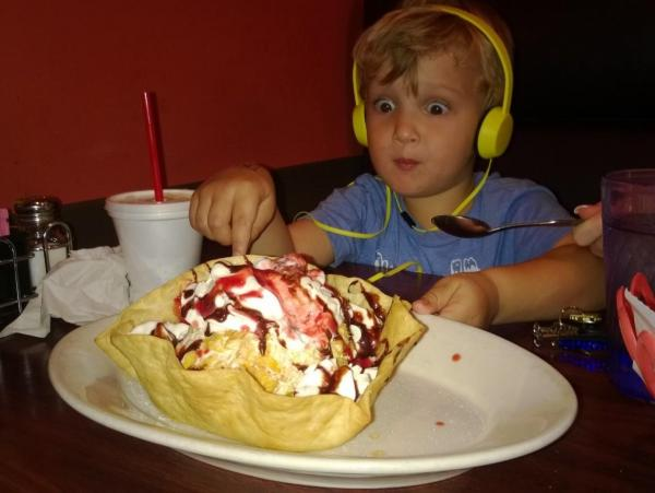 Charlie at pasion tequila loving the deep fried icecream